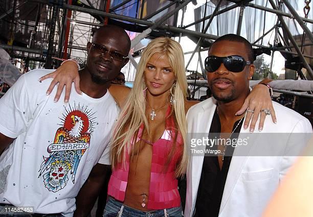 Djimon Hounsou Anna Nicole Smith and Chris Tucker during LIVE 8 Philadelphia Backstage at Philadelphia Museum of Art in Philadelphia Pennsylvania...