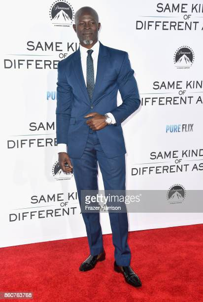 Djimon Hounsou attends the Premiere Of Paramount Pictures And Pure Flix Entertainment's 'Same Kind Of Different As Me' at Westwood Village Theatre on...