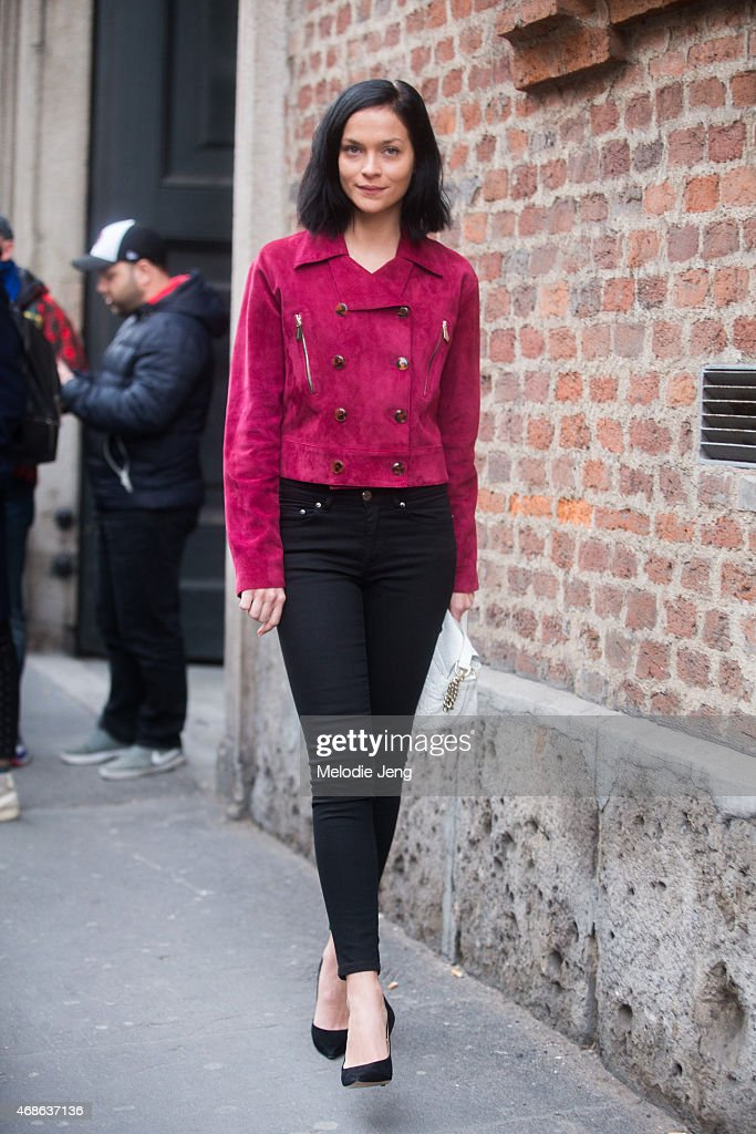Model Leigh Lezark exits the Trussardi show wearing Trussardi on Day 5 of Milan Fashion Week FW15 on March 1 2015 in Milan Italy