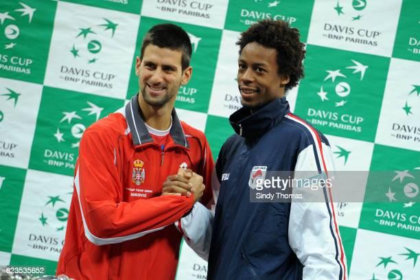 Djokovic Novak / Gael Monfils Tirage au sort Finale Coupe Davis Belgrade Serbie