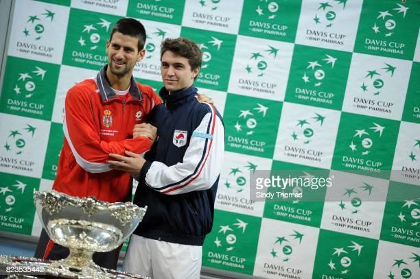 Djokovic Novak / Gilles Simon Tirage au sort Finale Coupe Davis Belgrade Serbie