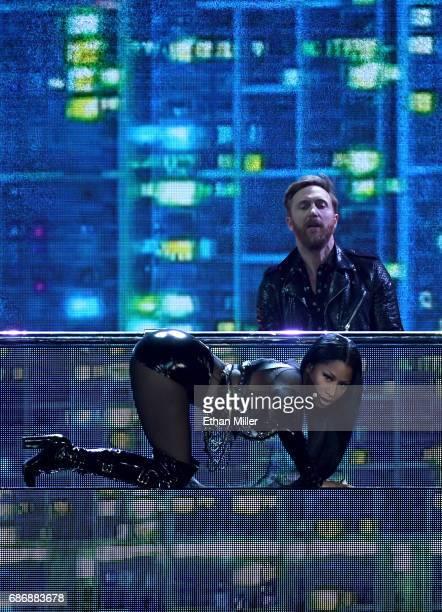 DJ/producer David Guetta and rapper Nicki Minaj perform during the 2017 Billboard Music Awards at TMobile Arena on May 21 2017 in Las Vegas Nevada