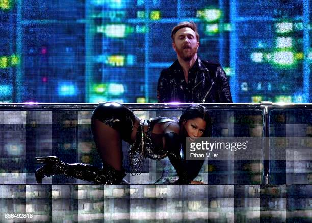 DJ/producer David Guetta and rapper Nicki Minaj perform onstage during the 2017 Billboard Music Awards at TMobile Arena on May 21 2017 in Las Vegas...