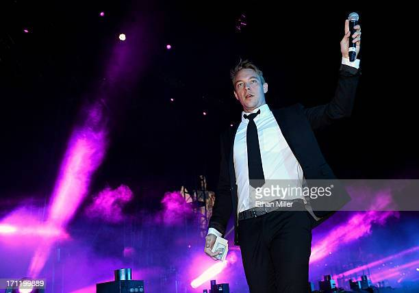 DJ/producer Diplo of Major Lazer performs at the 17th annual Electric Daisy Carnival at Las Vegas Motor Speedway on June 23 2013 in Las Vegas Nevada