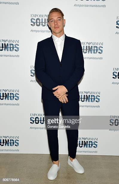 DJ/producer Diplo wearing Emporio Armani attends Emporio Armani Sounds Los Angeles at NeueHouse Los Angeles on February 11 2016 in Hollywood...
