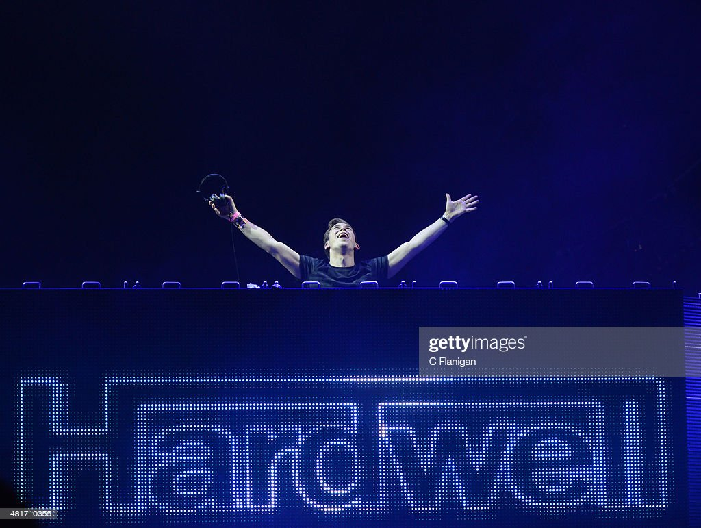 Producer Hardwell performs during Ultra Music Festival at Bayfront Park Amphitheater on March 30 2014 in Miami Florida