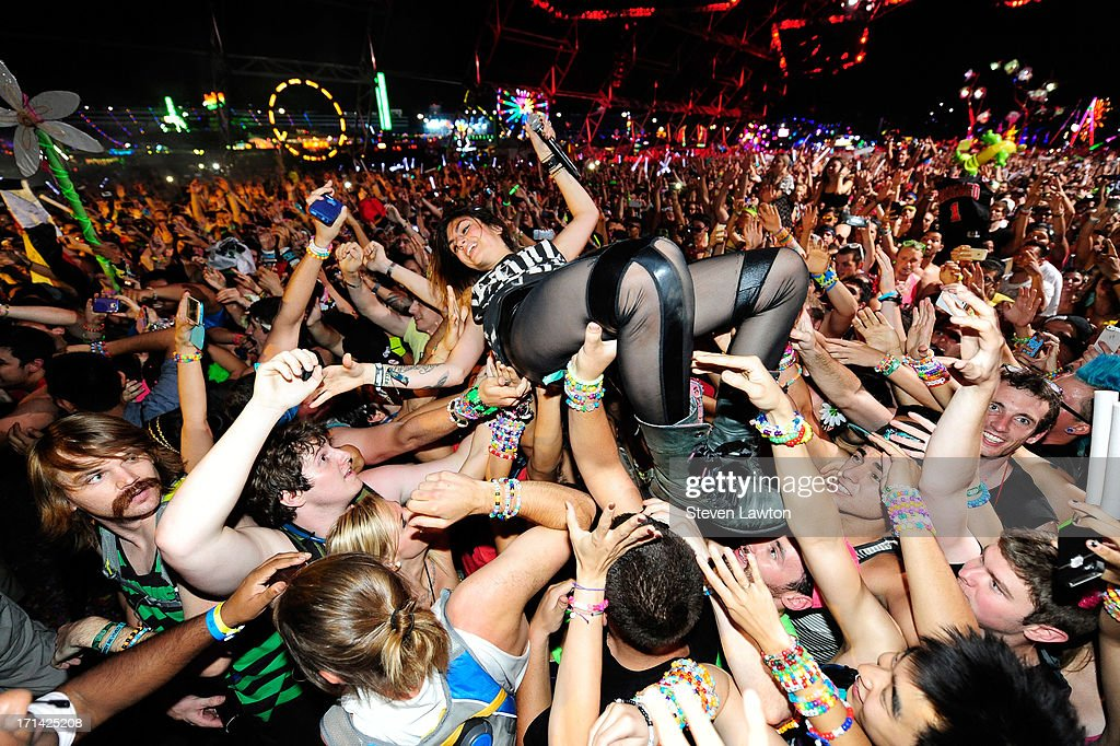 DJ/producer Jahan Yousaf of Krewella performs at the 17th annual Electric Daisy Carnival at Las Vegas Motor Speedway on June 24, 2013 in Las Vegas, Nevada.