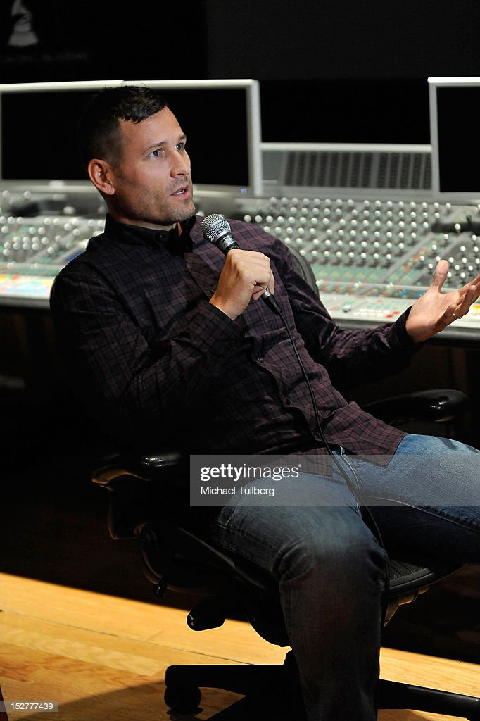 DJ/Producer <a gi-track='captionPersonalityLinkClicked' href=/galleries/search?phrase=Kaskade+-+DJ&family=editorial&specificpeople=5359439 ng-click='$event.stopPropagation()'>Kaskade</a> gets interviewed at an 'Up Close & Personal with Steve Aoki and <a gi-track='captionPersonalityLinkClicked' href=/galleries/search?phrase=Kaskade+-+DJ&family=editorial&specificpeople=5359439 ng-click='$event.stopPropagation()'>Kaskade</a>' Q&A session for GRAMMY U Los Angeles at Los Angeles Film School on September 25, 2012 in Los Angeles, California.