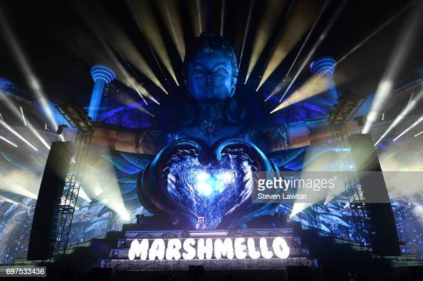 DJ/producer Marshmello performs during the 21st annual Electric Daisy Carnival at Las Vegas Motor Speedway on June 18 2017 in Las Vegas Nevada