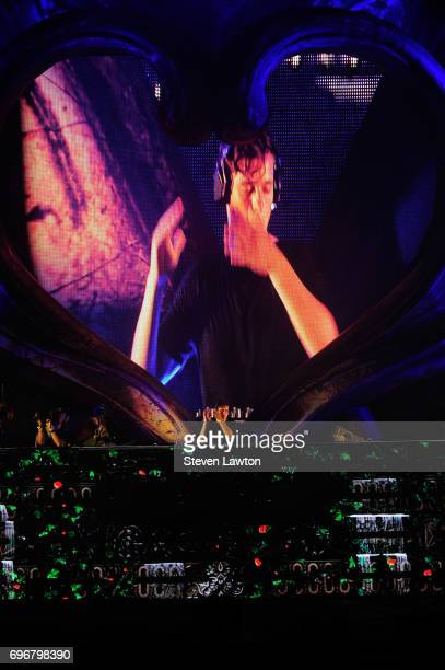 DJ/producer Martin Garrix performs during the 21st annual Electric Daisy Carnival at Las Vegas Motor Speedway on June 16 2017 in Las Vegas Nevada