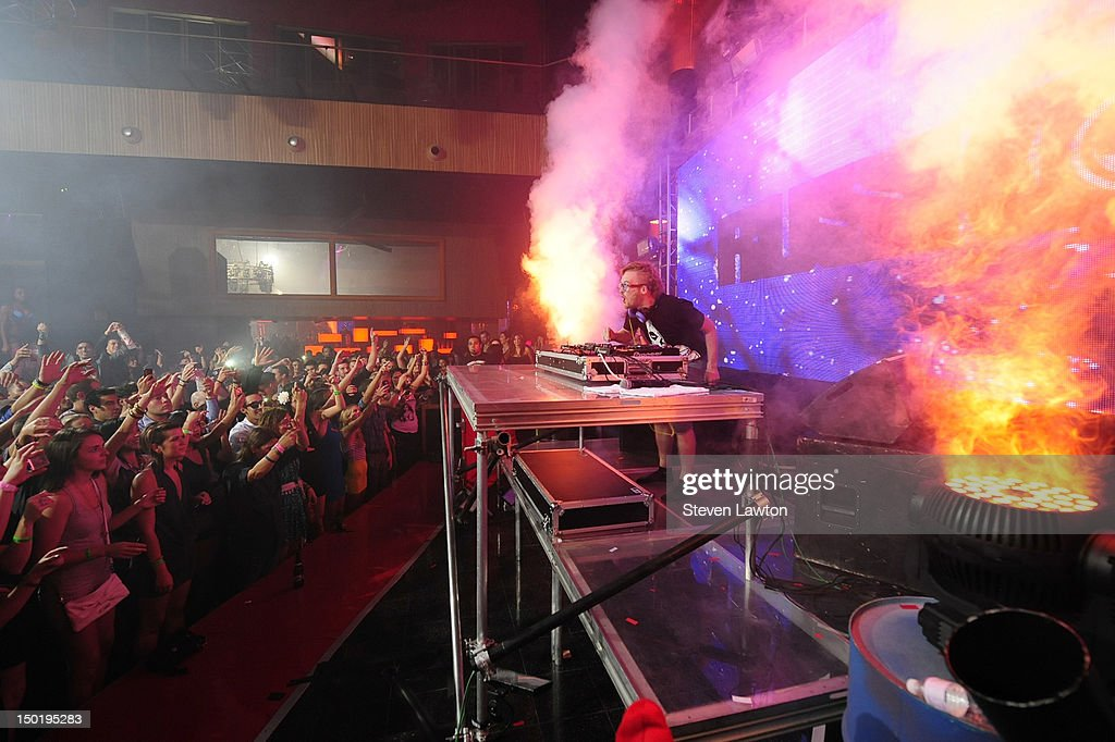 DJ/producer Rusko performs at Rain at Palms Resort & Casino on August 11, 2012 in Las Vegas, Nevada.