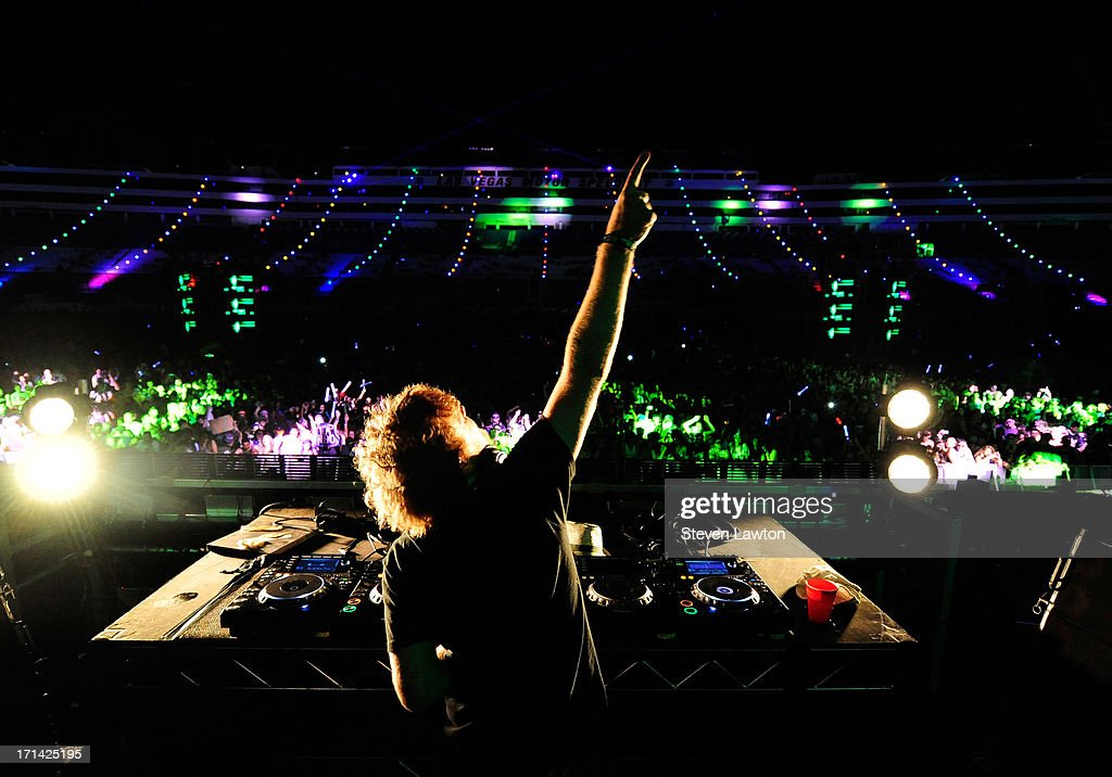 DJ/producer Rusko performs at the 17th annual Electric Daisy Carnival at Las Vegas Motor Speedway on June 24, 2013 in Las Vegas, Nevada.