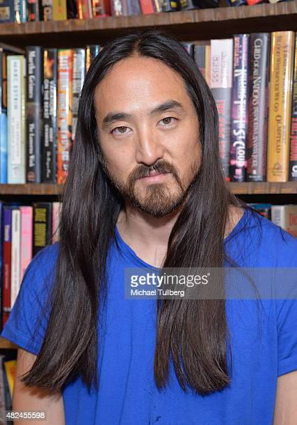 DJ/producer Steve Aoki attends a signing of his new book 'Eat Sleep Cake Repeat' at The Last Bookstore on July 30 2015 in Los Angeles California