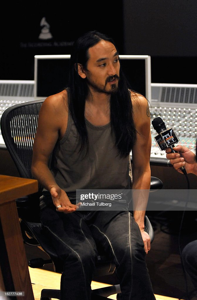 DJ/Producer Steve Aoki is interviewed at an 'Up Close & Personal with Steve Aoki and Kaskade' Q&A session for GRAMMY U Los Angeles at Los Angeles Film School on September 25, 2012 in Los Angeles, California.