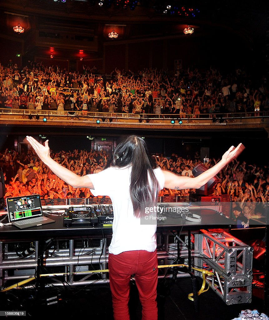 DJ/Producer Steve Aoki performs at The Warfield Theater on December 29, 2012 in San Francisco, California.