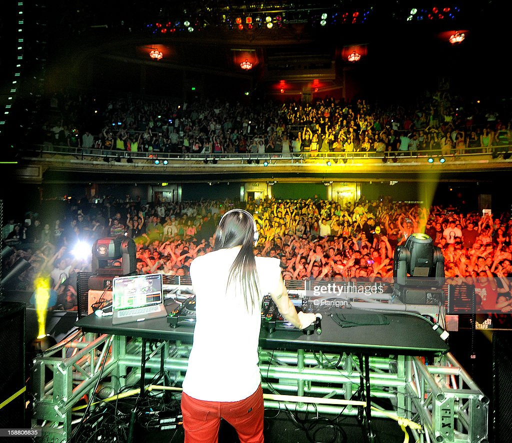 DJ/Producer <a gi-track='captionPersonalityLinkClicked' href=/galleries/search?phrase=Steve+Aoki&family=editorial&specificpeople=732001 ng-click='$event.stopPropagation()'>Steve Aoki</a> performs at The Warfield Theater on December 29, 2012 in San Francisco, California.
