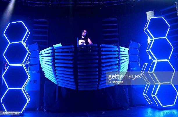 Producer Steve Aoki performs during his Aokify America Tour at Bill Graham Civic Auditorium on November 16 2013 in San Francisco California