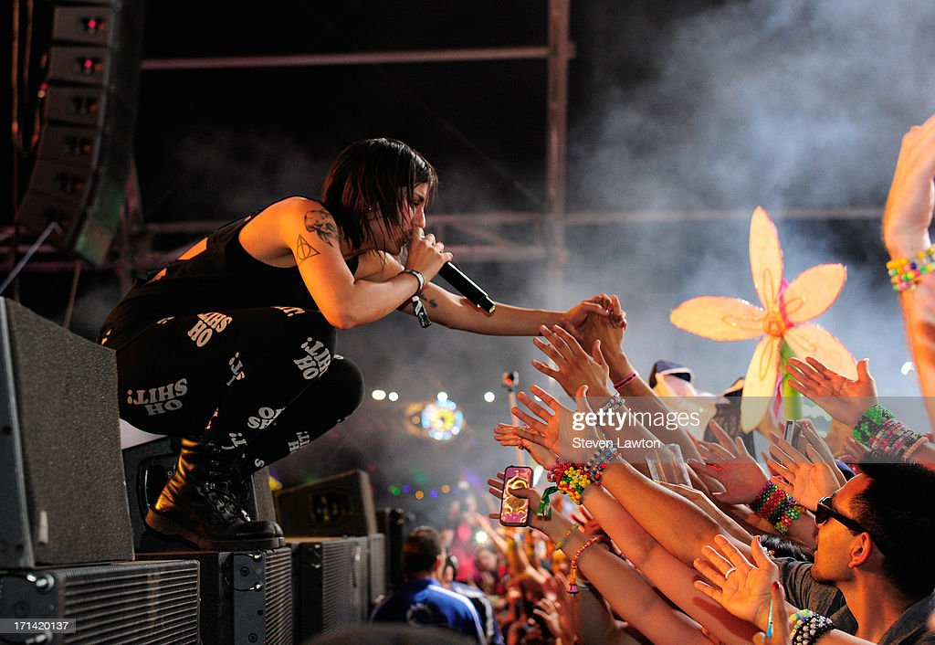 DJ/producer Yasmine Yousaf of Krewella performs at the 17th annual Electric Daisy Carnival at Las Vegas Motor Speedway on June 24, 2013 in Las Vegas, Nevada.
