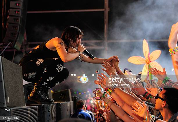 DJ/producer Yasmine Yousaf of Krewella performs at the 17th annual Electric Daisy Carnival at Las Vegas Motor Speedway on June 24 2013 in Las Vegas...