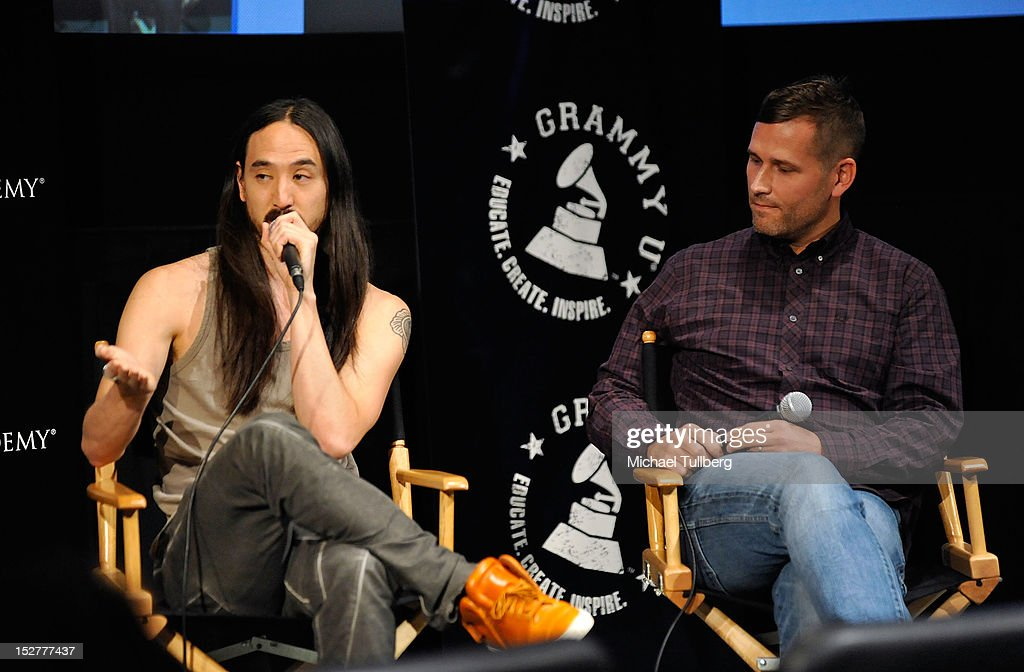 DJ/Producers Steve Aoki and Kaskade are interviewed at an 'Up Close & Personal with Steve Aoki and Kaskade' Q&A session for GRAMMY U Los Angeles at Los Angeles Film School on September 25, 2012 in Los Angeles, California.
