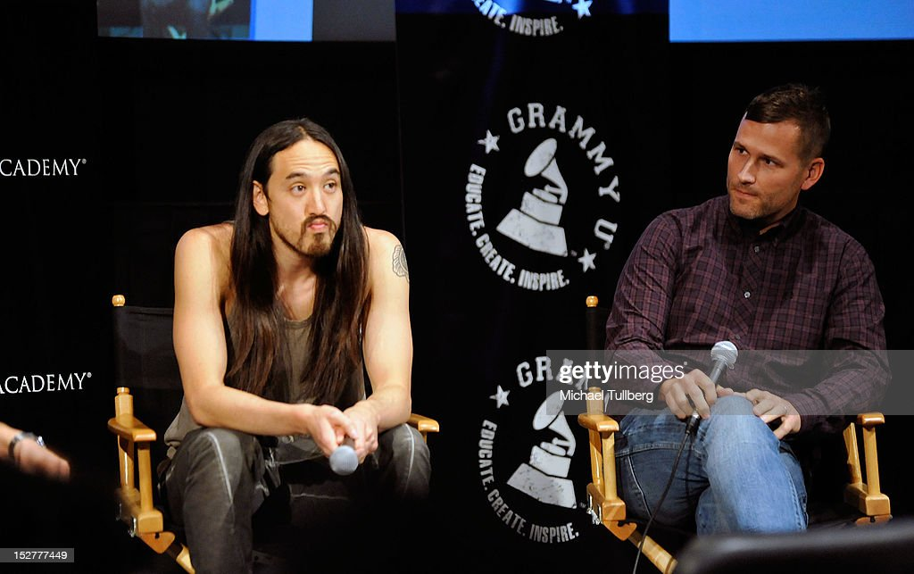 DJ/Producers <a gi-track='captionPersonalityLinkClicked' href=/galleries/search?phrase=Steve+Aoki&family=editorial&specificpeople=732001 ng-click='$event.stopPropagation()'>Steve Aoki</a> and <a gi-track='captionPersonalityLinkClicked' href=/galleries/search?phrase=Kaskade+-+DJ&family=editorial&specificpeople=5359439 ng-click='$event.stopPropagation()'>Kaskade</a> are interviewed at an 'Up Close & Personal with <a gi-track='captionPersonalityLinkClicked' href=/galleries/search?phrase=Steve+Aoki&family=editorial&specificpeople=732001 ng-click='$event.stopPropagation()'>Steve Aoki</a> and <a gi-track='captionPersonalityLinkClicked' href=/galleries/search?phrase=Kaskade+-+DJ&family=editorial&specificpeople=5359439 ng-click='$event.stopPropagation()'>Kaskade</a>' Q&A session for GRAMMY U Los Angeles at Los Angeles Film School on September 25, 2012 in Los Angeles, California.