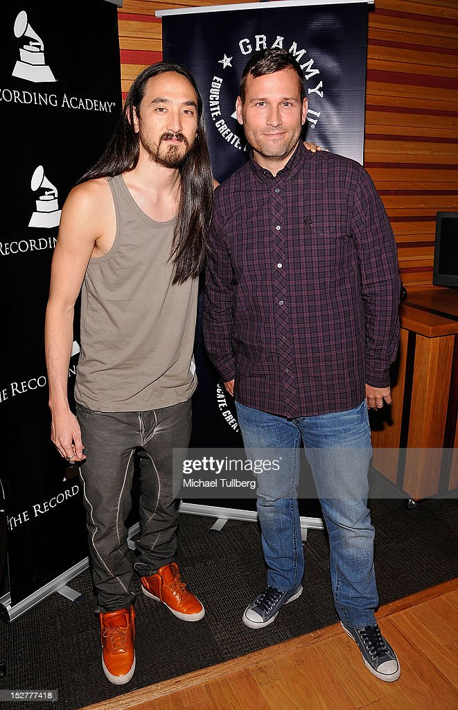 DJ/Producers Steve Aoki and Kaskade arrive at an 'Up Close & Personal with Steve Aoki and Kaskade' Q&A session for GRAMMY U Los Angeles at Los Angeles Film School on September 25, 2012 in Los Angeles, California.