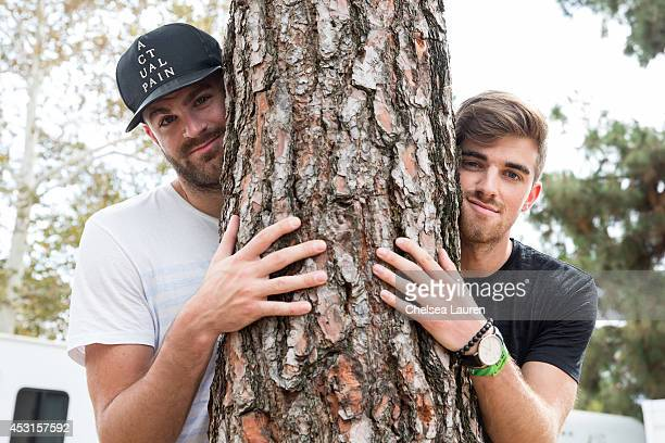 DJs Alex Pall and Andrew Taggart of The Chainsmokers pose backstage during HARD Summer at Whittier Narrows Recreation Area on August 3 2014 in Los...