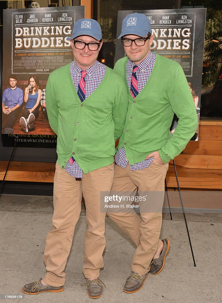 DJs AndrewAndrew attend the 'Drinking Buddies' screening at Nitehawk Cinema on August 19, 2013 in the Brooklyn borough of New York City.