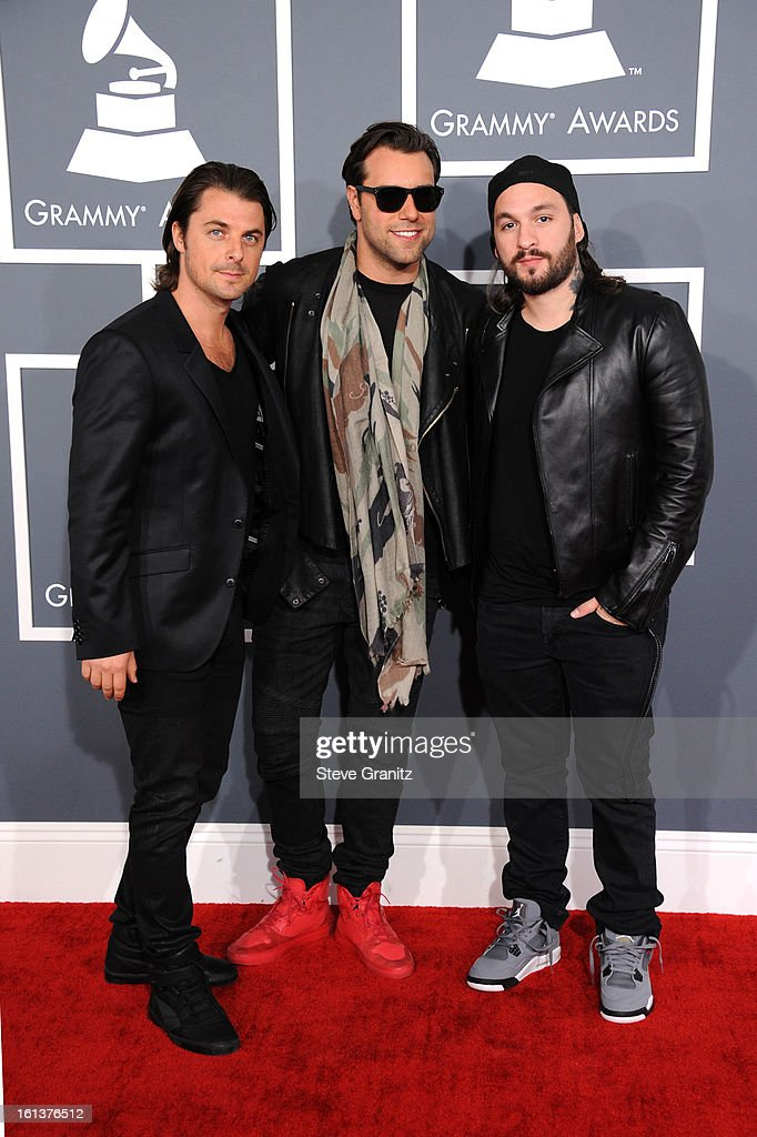 DJs Axwell, Steve Angello and Sebastian Ingrosso of Swedish House Mafia attend the 55th Annual GRAMMY Awards at STAPLES Center on February 10, 2013 in Los Angeles, California.
