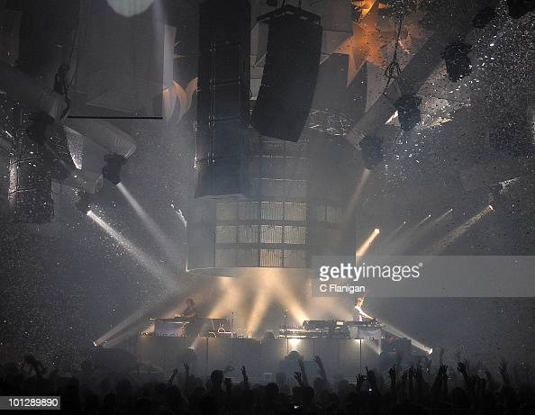 DJs Benny Benassi and Armin van Buuren perform during the etdPOP Electronic Music Festival at Cow Palace on May 29 2010 in San Francisco California