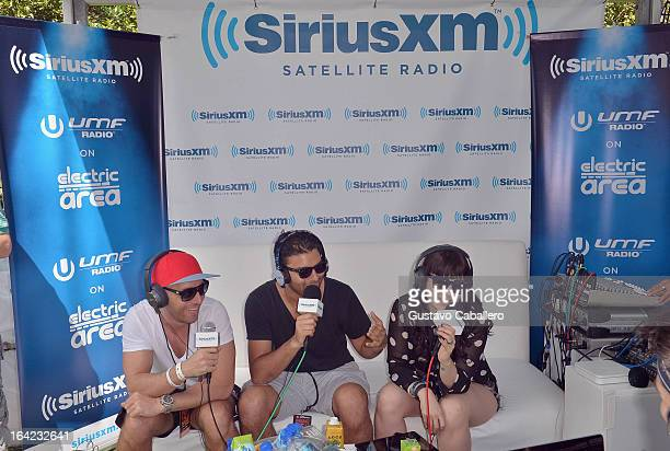DJs Bobby Burns and R3hab are interviewed live on SiriusXM's 'UMF Radio' at the SiriusXM Music Lounge at W Hotel on March 21 2013 in Miami Florida
