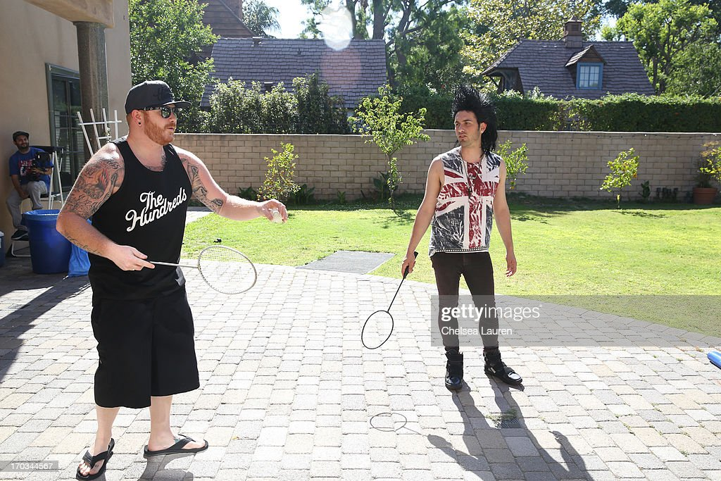DJs Borgore (R) and Kennedy Jones attend Borgore's 'Legend' music video shoot on June 11, 2013 in Toluca Lake, California.
