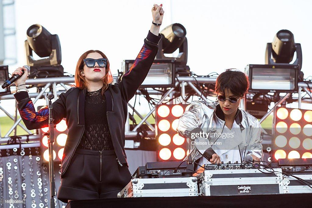 DJs Caroline Hjelt (L) and Aino Jawo of Icona Pop perform at 102.7 KIIS FM's Wango Tango 2013 at The Home Depot Center on May 11, 2013 in Carson, California.
