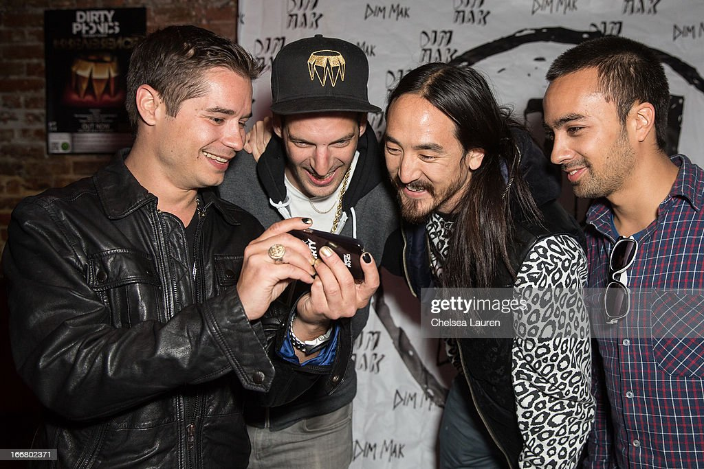 DJs Charly, Pitchin, <a gi-track='captionPersonalityLinkClicked' href=/galleries/search?phrase=Steve+Aoki&family=editorial&specificpeople=732001 ng-click='$event.stopPropagation()'>Steve Aoki</a> and Pho attend the Dirtyphonics private press meet & greet and listening of new album 'Irreverence' at Dim Mak Studios on April 16, 2013 in Hollywood, California.