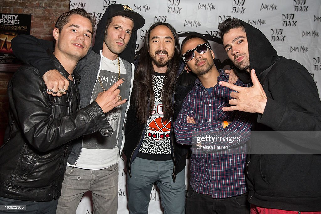DJs Charly, Pitchin, <a gi-track='captionPersonalityLinkClicked' href=/galleries/search?phrase=Steve+Aoki&family=editorial&specificpeople=732001 ng-click='$event.stopPropagation()'>Steve Aoki</a>, Pho and Thomas attend the Dirtyphonics private press meet & greet and listening of new album 'Irreverence' at Dim Mak Studios on April 16, 2013 in Hollywood, California.