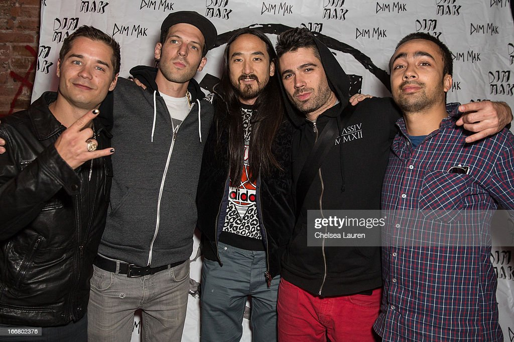 DJs Charly, Pitchin, <a gi-track='captionPersonalityLinkClicked' href=/galleries/search?phrase=Steve+Aoki&family=editorial&specificpeople=732001 ng-click='$event.stopPropagation()'>Steve Aoki</a>, Thomas and Pho attend the Dirtyphonics private press meet & greet and listening of new album 'Irreverence' at Dim Mak Studios on April 16, 2013 in Hollywood, California.