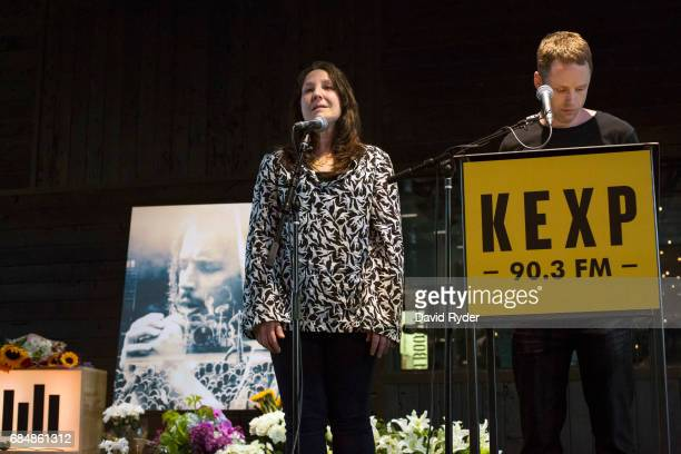 DJs Cheryl Waters and John Richards speak during a memorial for musician Chris Cornell at the KEXP radio studio on May 18 2017 in Seattle Washington...