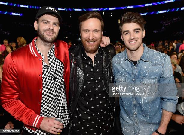 DJs David Guetta and Alex Pall and Andrew Taggart of The Chainsmokers attend the 2017 Billboard Music Awards at TMobile Arena on May 21 2017 in Las...
