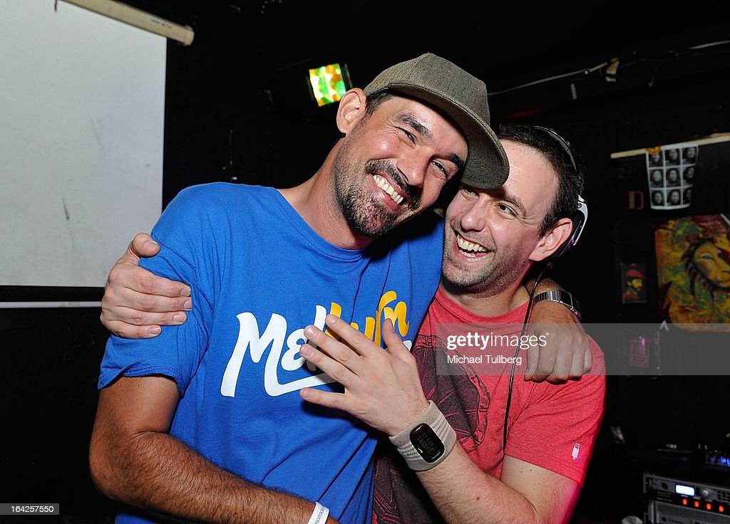 DJs Fergus and Ed Marco clown around during Winter Music Conference 2013 on March 21, 2013 in Miami Beach, Florida.