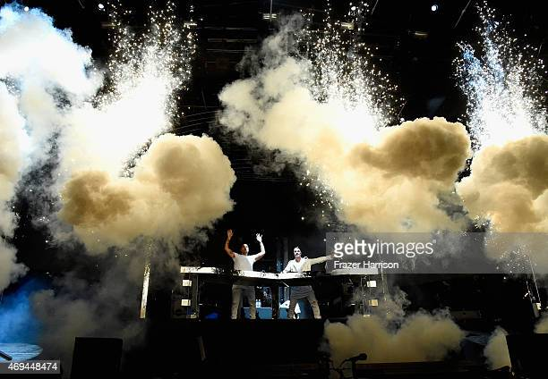 DJs Ingrosso and Axwell perform onstage during day 2 of the 2015 Coachella Valley Music Arts Festival at the Empire Polo Club on April 11 2015 in...