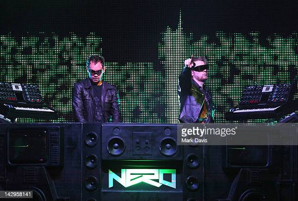 DJs Joe Ray and Daniel Stephens of Nero perform onstage at the 2012 Coachella Valley Music Arts Festival held at The Empire Polo Field on April 15...
