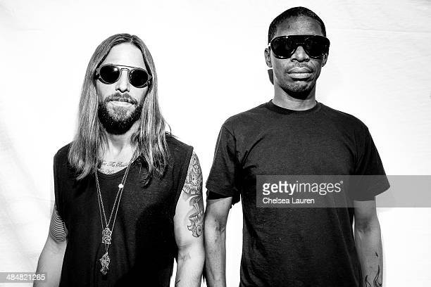 DJs Jonny White and Kenny Glasgow of Art Department pose backstage at the Coachella Valley music and arts festival at The Empire Polo Club on April...