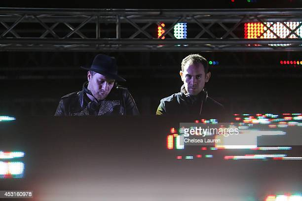 DJs Joseph Ray and Daniel Stephens of Nero perform during HARD Summer at Whittier Narrows Recreation Area on August 3 2014 in Los Angeles California