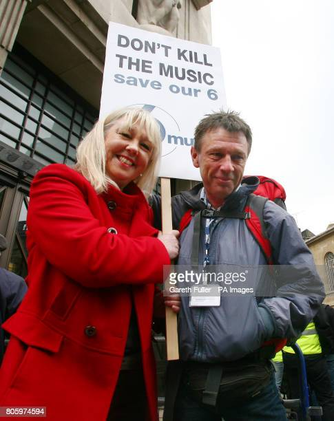 DJs Liz Kershaw and Andy Kershaw join fans of the BBC 6 Music radio station as they protest against its possible closure during the Save 6 Music...
