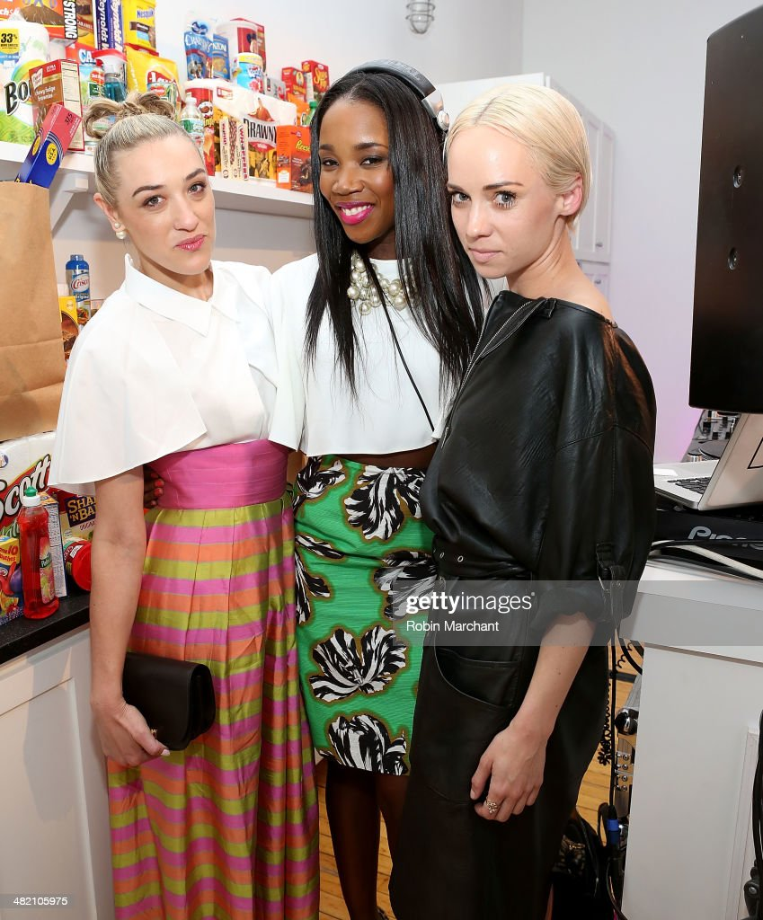 DJs Mia Moretti, Kiss and Electric Violinist Caitlin Moe attend American Express #EveryDayMoments at Home Studios on April 2, 2014 in New York City.