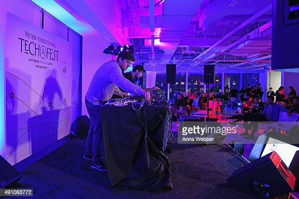 DJs Sam Haar and Zach Steinman of Blondes perform onstage at Tech@Fest SoundCloud Lounge during The New Yorker Festival 2015 at One World Trade...
