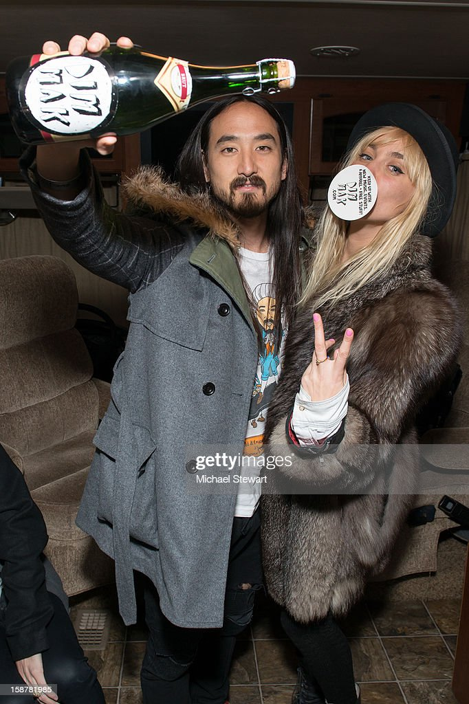 DJs Steve Aoki (L) and Mim Nervo attend the 2012 Aokify NYC at Pier 94 on December 27, 2012 in New York City.