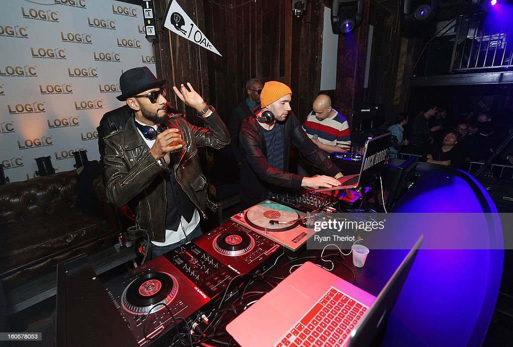 DJs Swizz Beatz (L) and Mick Boogie perform at 1 OAK New Orleans Presented By LOGIC Electronic Cigarettes at Jax Brewery on February 2, 2013 in New Orleans, Louisiana.