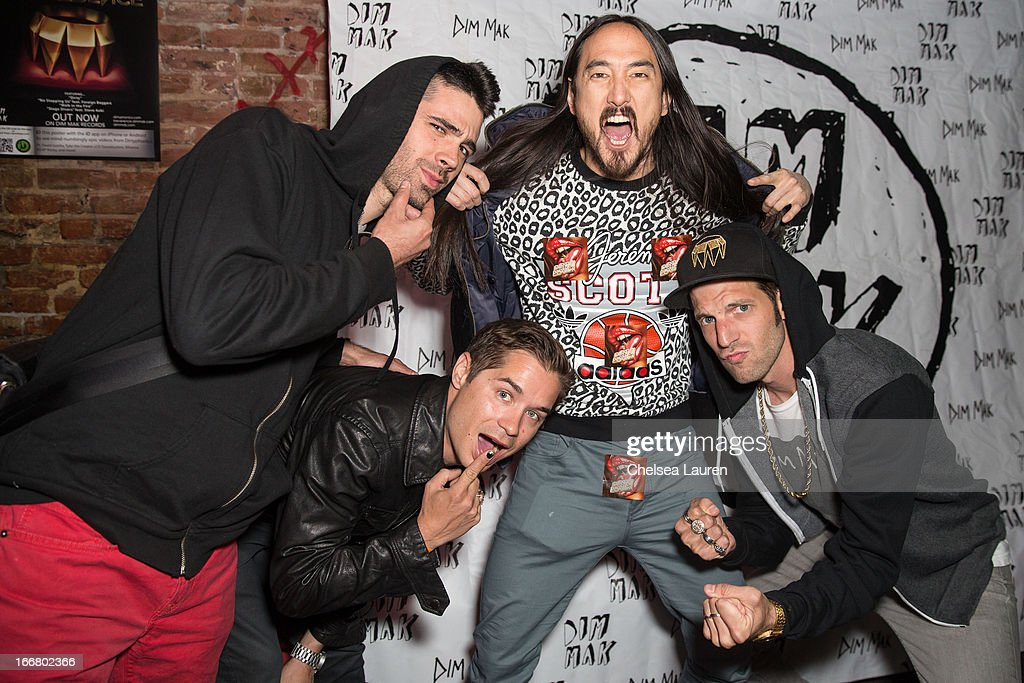 DJs Thomas, Charly, <a gi-track='captionPersonalityLinkClicked' href=/galleries/search?phrase=Steve+Aoki&family=editorial&specificpeople=732001 ng-click='$event.stopPropagation()'>Steve Aoki</a> and Pitchin attend the Dirtyphonics private press meet & greet and listening of new album 'Irreverence' at Dim Mak Studios on April 16, 2013 in Hollywood, California.