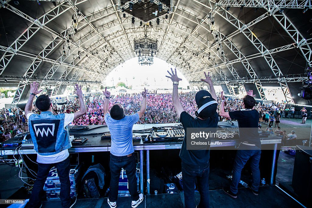 DJs Thomas, Pho, Pitchin and Charly of Dirtyphonics perform during the Coachella Valley Music & Arts Festival at The Empire Polo Club on April 21, 2013 in Indio, California.